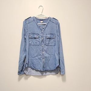 ARITZIA WILFRED Chambray Denim Button Down Shirt